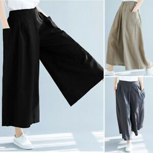 ZANZEA-Femme-Decontracte-lache-Taille-elastique-Jambe-Large-Pantalon-Oversize