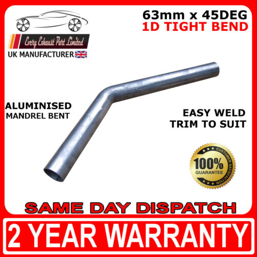 """63mm 45 Degree Tight 1D Aluminised Exhaust Mandrel Bend 2/"""" 1//2 SMOOTHFLOW"""