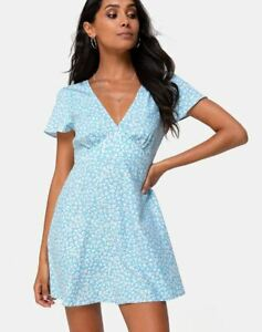 MOTEL-ROCKS-Elara-Dress-in-Ditsy-Rose-Blue-Small-S-MR64