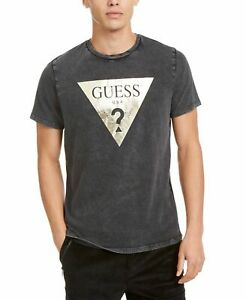 Guess-Mens-T-Shirt-Black-Size-XL-Washed-Logo-Graphic-Crewneck-Tee-39-268