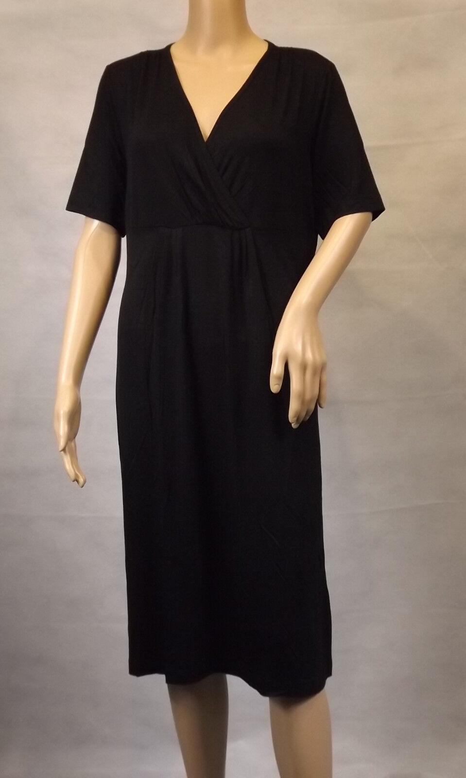 GINA LAURA   M 40 42 schwarz  Stylisches Kleid  kurzarm  V-Ausschnitt  Viskose