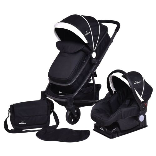 Foldable Baby Kids Travel Stroller Mummy Bag Pushchairs Black Oxford Cover US