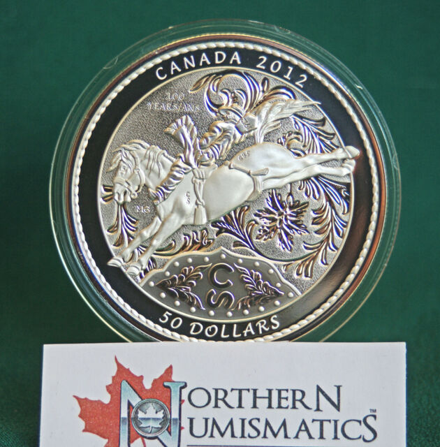 2012 Canada $50 Calgary Stampede Centennial 5 oz. proof finish 99.99% silver
