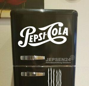 Aufkleber-Pepsi-Cola-Schriftzug-40x20cm-Weiss-glanz-fuer-Kuehlschrank-Kuehlbox-Auto
