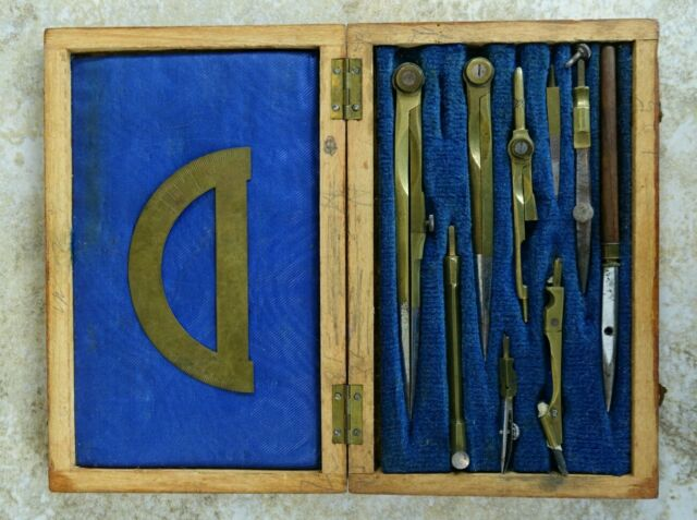 Antique Vintage Architects Brass Drafting Drawing Tools Protractor Compass Kit
