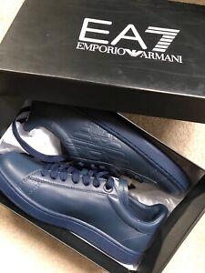 EMPORIO-ARMANI-EA7-Logo-Blu-Nuove-Scarpe-Da-Ginnastica-Classico-UK-6-5-8-5-9-NUOVA-Casella