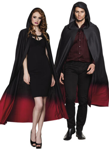 Adult Ombre Cape Black Red Hooded Mens Ladies Fancy Dress Halloween NEW 170CM