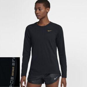 b159ae268078d6 Nike Tailwind Women's Long-Sleeve Running Top M Black Metallic Gold ...