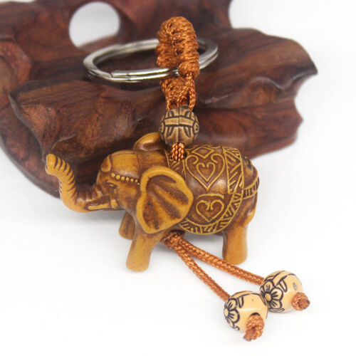Lucky Elephant Carving Keychain Wooden Pendant Key Ring Chain Evil Defends Gift