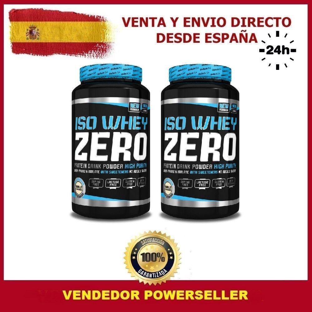 2 BOTES AISLADO DE PROTEINA  ISO WHEY ZERO 908 grs. Sabor CHOCOLATE  BIOTECHUSA