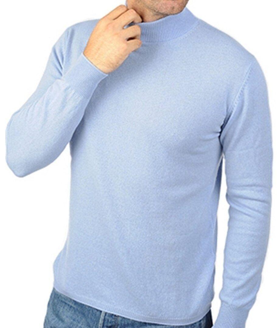 Balldiri 100% Cashmere Herren Pullover Stehkragen 2-fädig himmelblau L