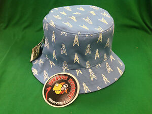 2688eb9f1faf3 White Oilers Printed Baby Blue Full-Brim Bucket Hat ONE SIZE Piranha ...