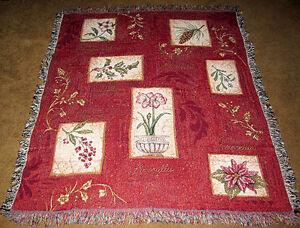 Holiday Botanical ~ Poinsettia/Mistletoe/White Pine/Holly Tapestry Afghan Throw