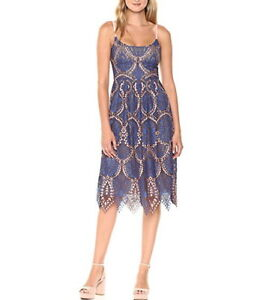 NEW-BCBGMAXAZRIA-BLUE-SAPHIRE-COMBO-KALEIDOSCOPE-LACE-DRESS-PBZ67M54-L502W-SZ-10