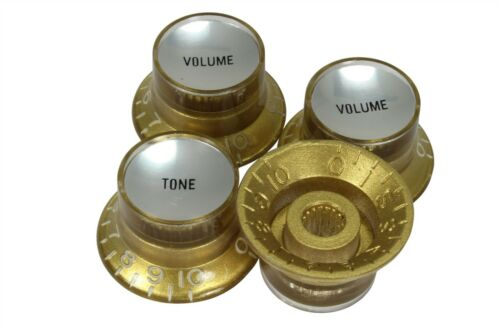Bell Hat Knobs Gold w/Silver Reflector for Import guitars 4pk