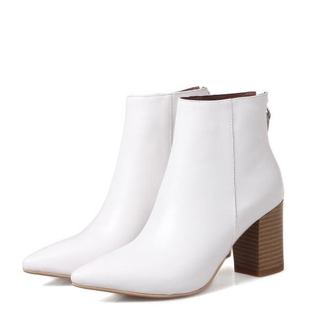 Autumn Autumn Autumn Winter Women's Pull On Pointy Toe Block Heels Zipper Ankle Boots OL a3013f