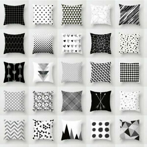 Cover-Throw-White-Case-Dazzling-Cushion-Pillow-Black-Decor-Geometric-Square