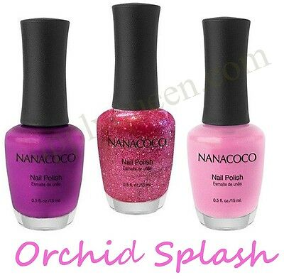 NanaCoco Orchid Splash Collection Nail Polish Lot of 3 Colors Set Lacquer