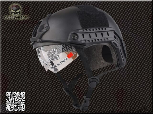 Military Airsoft Combat Helmet EMERSON Tactical FAST Helmet with Goggle Black FG