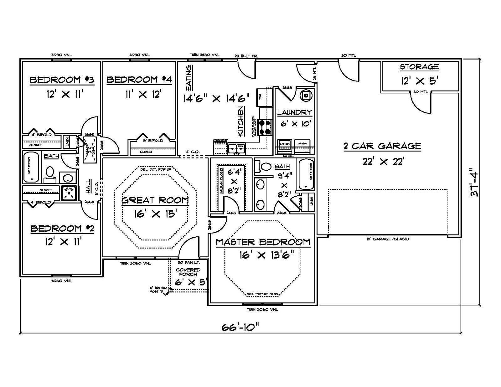 House House House Plans for 1500 Sq. Ft. 4 Bedroom House d5e130