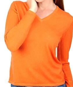 donna arancione Maglione scollo 100 a 2 Balldiri da con L V a veli Cashmere 7AIgwT