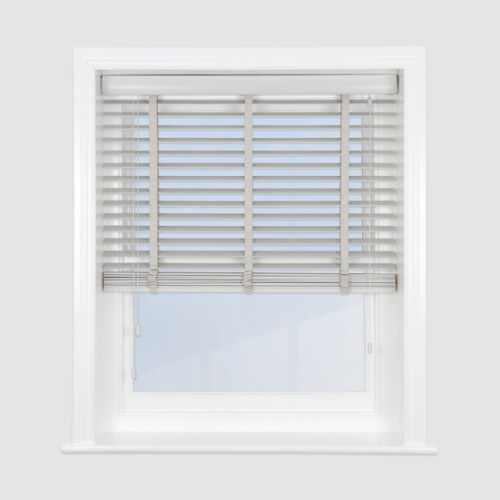 Quality Made to Measure 50 mm Light Grey Wooden Venetian Blinds with Tapes