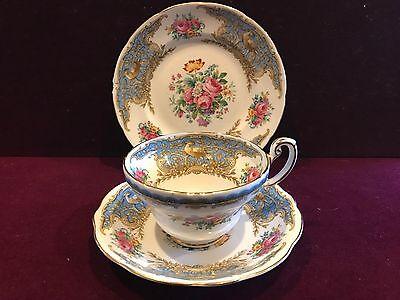 Vintage Bone China Trio Tea Cup Saucer Plate Foley Montrose Blue EB 1830 England