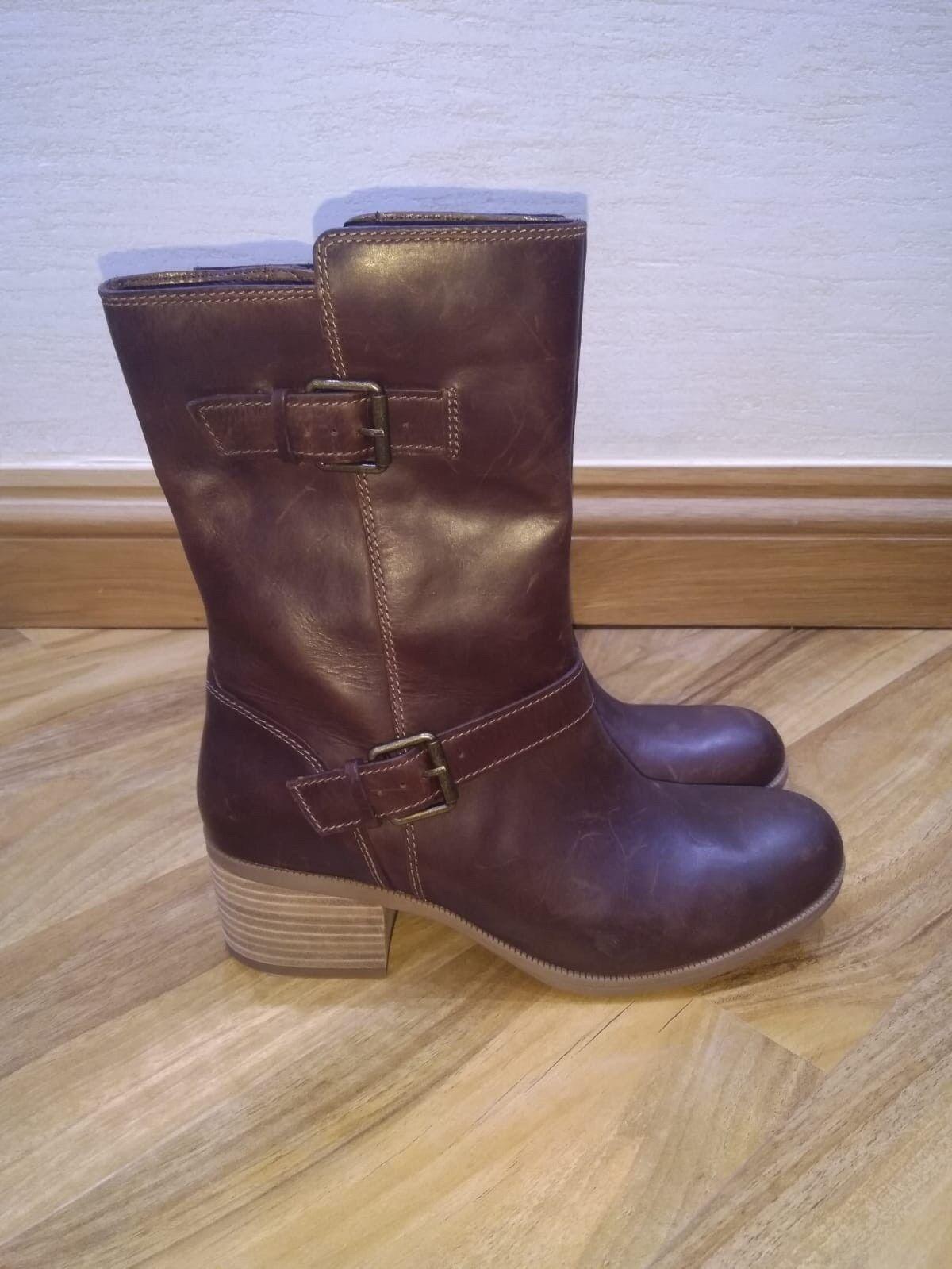 BNWOB CLARKS marrón CALF LEATHER botas Talla 6.5