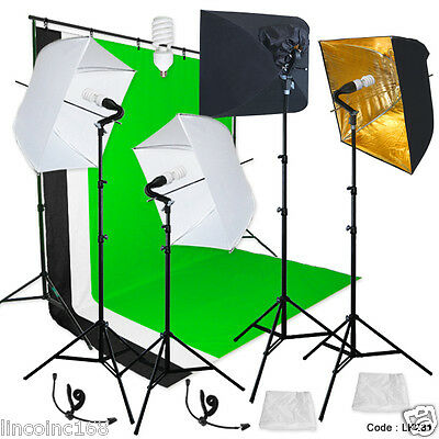 Photography Backdrop stand 3 Muslins Studio Lighting Light Softbox Kit Linco