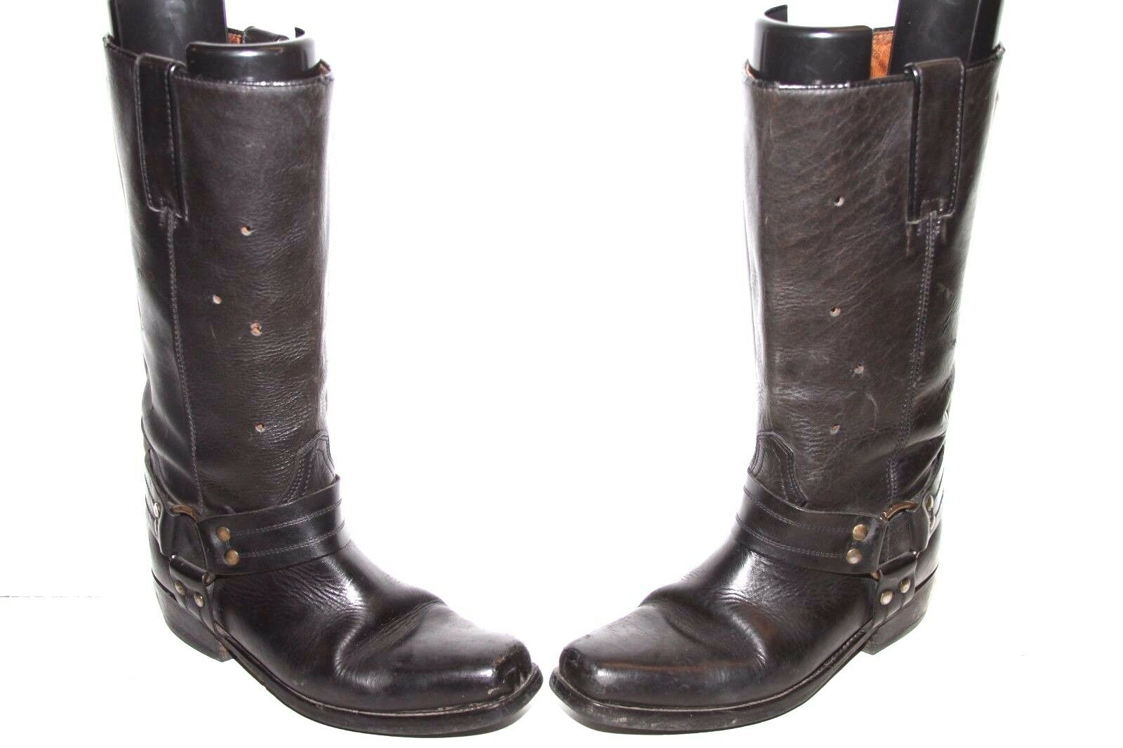 Domini Black Harness Chopper Western Boots Made in Italy Womens 10 Preowned