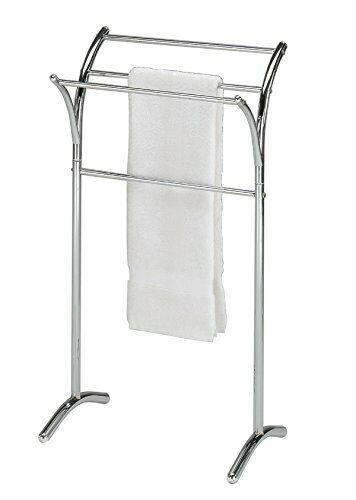 Chrome Finish Towel Rack Bathroom Stand Shelf 4 Bars for Towel Hanging