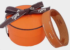 AUTHENTIC HERMES Pool Tours Brown Leather Bangle Bracelet