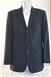 HUGO-BOSS-rossellini-movie-veste-de-costume-noire-rayee-bleue-stretch-T-50-NEUVE