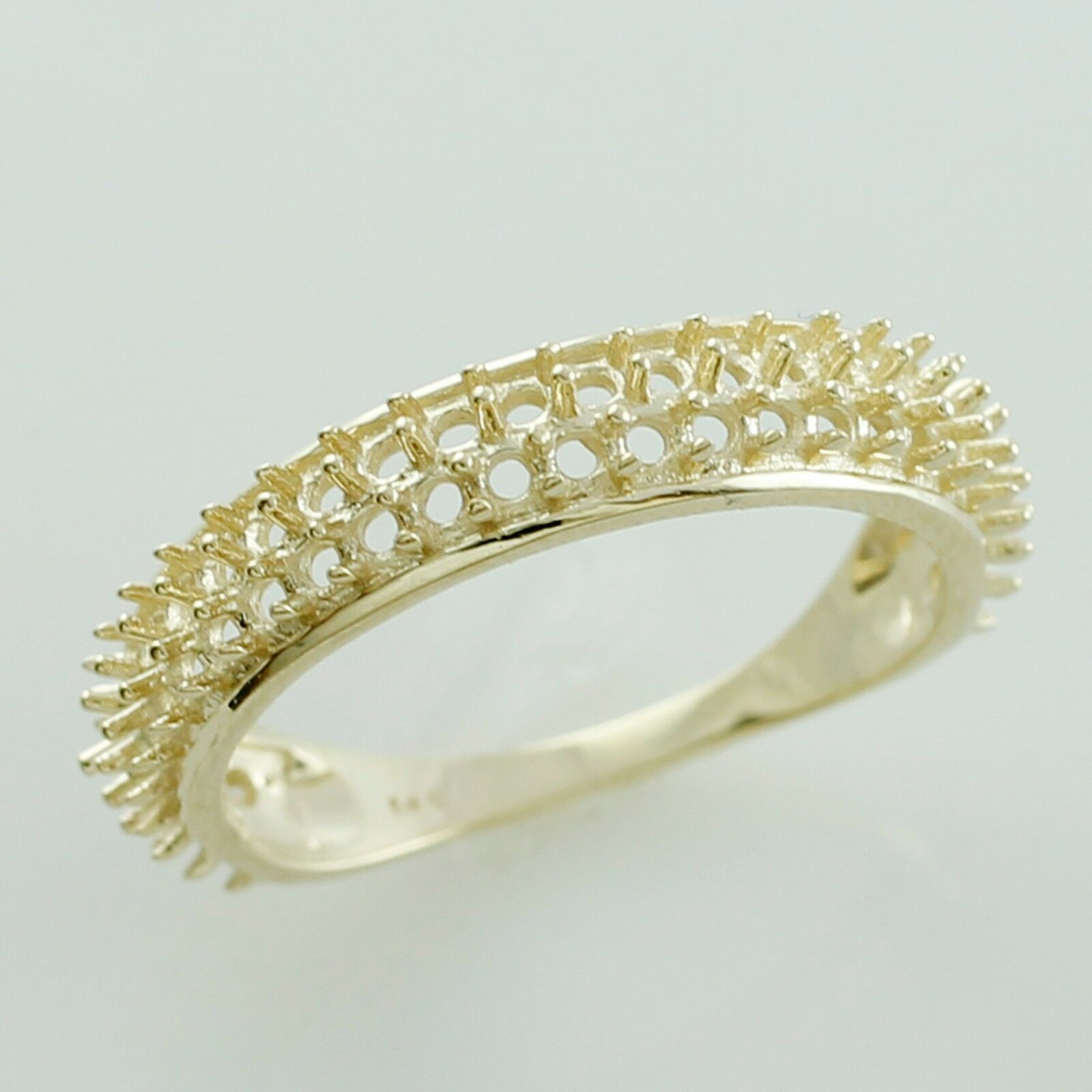 Semi Mount Round Shape Cluster Ring 1.50 MM Genuine gold Festival Woman Jewelry