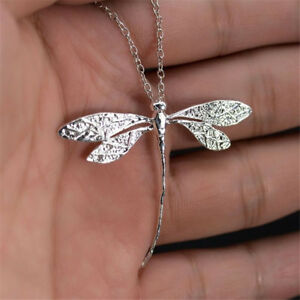Vintage-925-Silver-Dragonfly-Pendant-with-Chain-Necklace-Wedding-Party-Jewelry