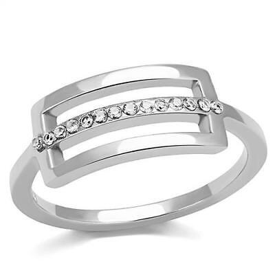 Stainless Steel AAA Grade Cubic Zircon CZ Clear Coctail Women Ring 5-10 TK3177