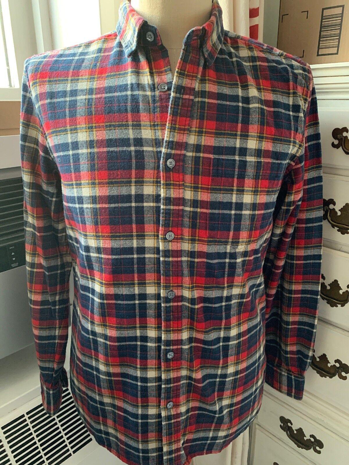 Mens Cotton Flannel shirt Line of Trade Bespoke Post brand M Medium Plaid