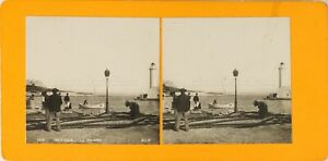 FRANCE-Antibes-Pecheurs-Le-Phare-ca-1900-Photo-Stereo-Vintage-Argentique-PL61L