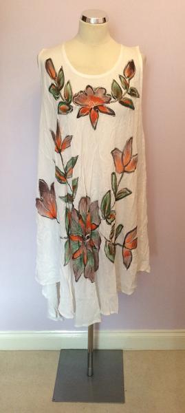 BNWT SAHIBA WHITE FLORAL PRINT SUMMER DRESS ONE SIZE