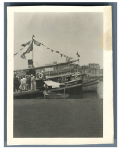 Egypte-Bateau-sur-le-canal-de-Suez-Vintage-silver-print-Tirage-argentique