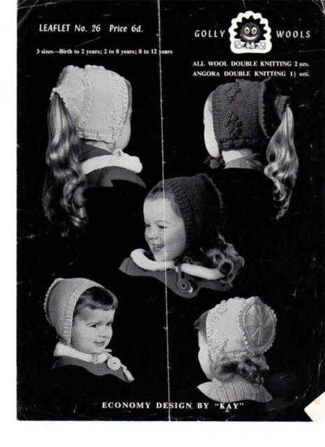 Vintage Girls Hats Knitting pattern- Ponytail hats included on this pattern DK