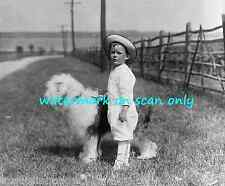 1914 B&W Photo~Young Boy w Hat~Old English Sheepdog Dog~ New Large Note Cards