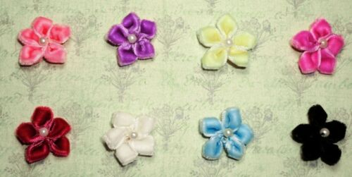 12 Velvet Flowers with pearl bead Appliques 8 colors Approx. 1