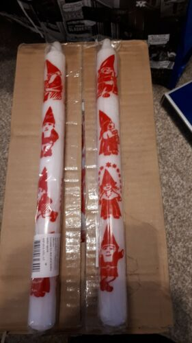 Approx 30 cm long Set of 2 white and red Christmas Advent Candles