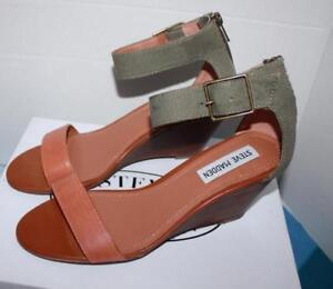 3f2c69b2300 New Steve Madden Women s Darcie Low Heel Sandal NaNNCY kHAKI Mult Sz ...