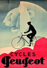 Art Ad Cycles Peugeot  Bicycle Bike Cycle  Deco   Poster Print