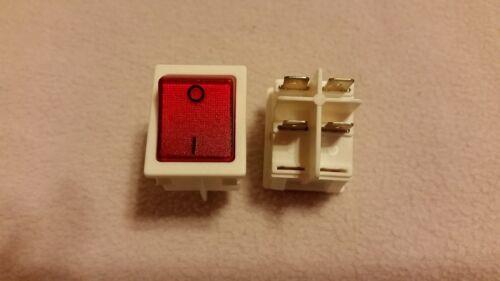 1 Stück WEISSER Wippschalter 4-polig EIN//AUS 250V//10A ROT beleuchtet,VDE geprüft