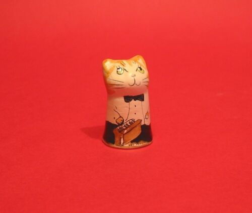 Piano Cat Hand Painted Pottery Musician Cat Thimble Gift Collectible Thimble