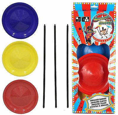 Spinning Plates Set Balancing Juggling Magic Circus Trick Skill Game Toy T79 043