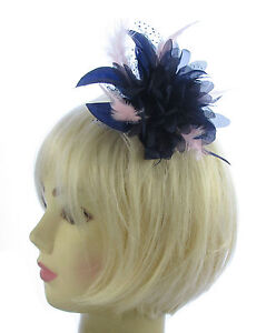 Image is loading Navy-blue-and-pink-star-flower-comb-fascinator- 3f70207c84f